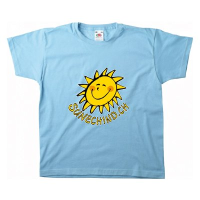 Sunechind T-Shirt online kaufen blau gelb Sonne Kinder top Qualitaet Marke fruit of the loom Sommer